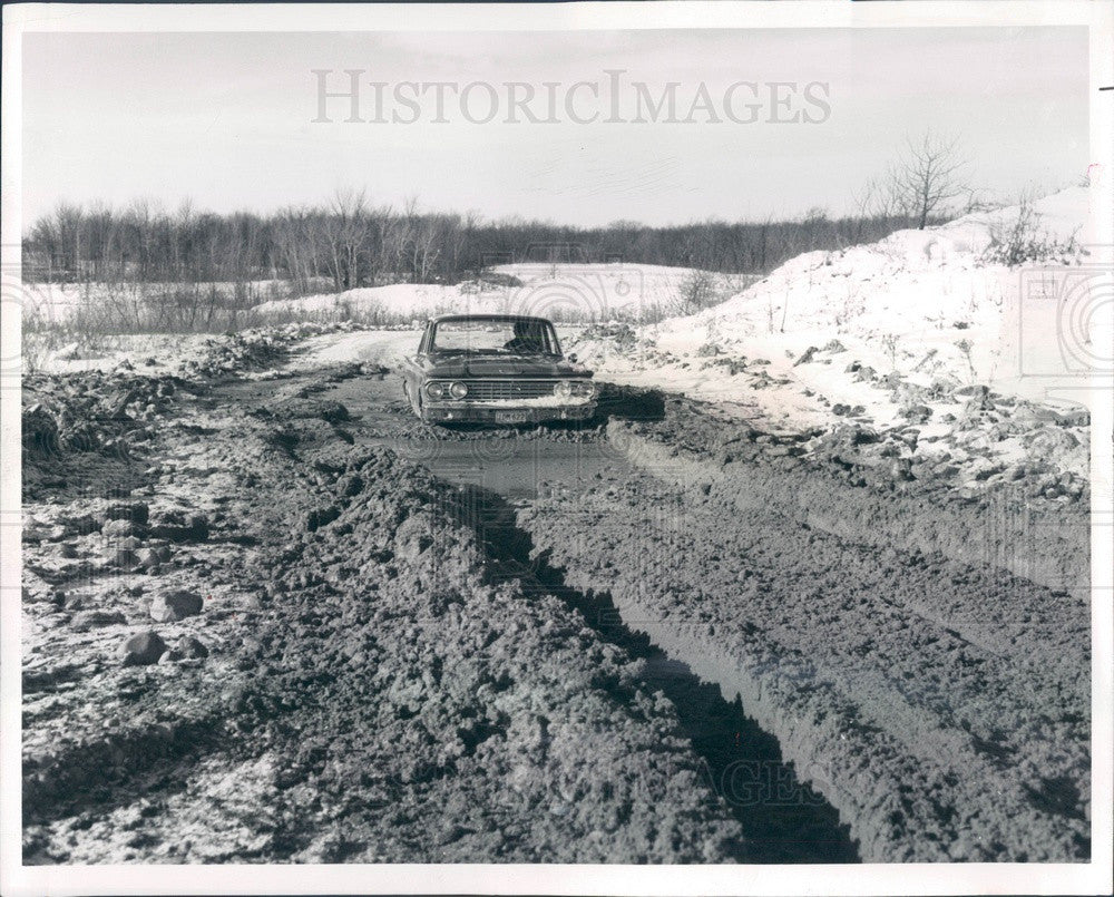 1962 Detroit, MI Ford Motor Proving Ground, Fairlane on Mud Test Run Press Photo - Historic Images