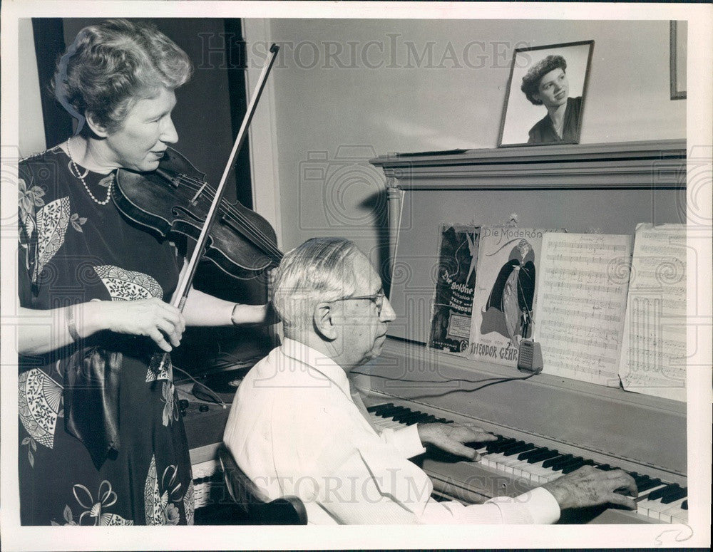 1952 German Composer & St Petersburg, FL Tailor Theodore Gehr & Wife Press Photo - Historic Images