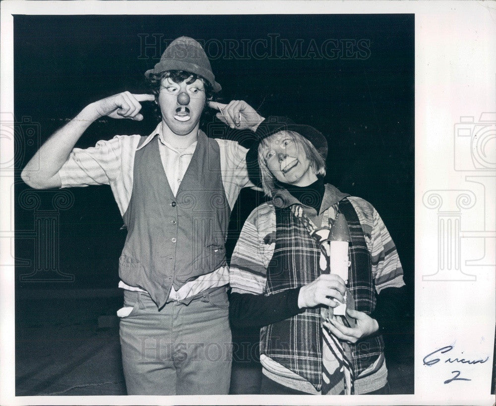 1978 Largo, Florida Great Ron Morris Circus Clown J.P. & Bobo Press Photo - Historic Images