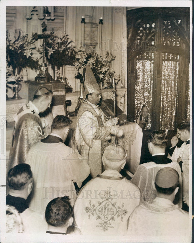 1938 Detroit, MI Auxiliary Bishop Stephen Woznicki Consecration Press Photo - Historic Images