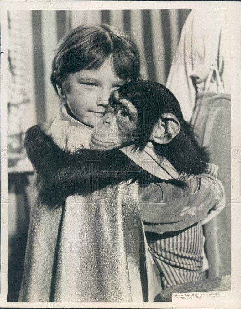 1973 Child Actor Kevin Corcoran & Mr. Stubbs the Chimp Press Photo - Historic Images