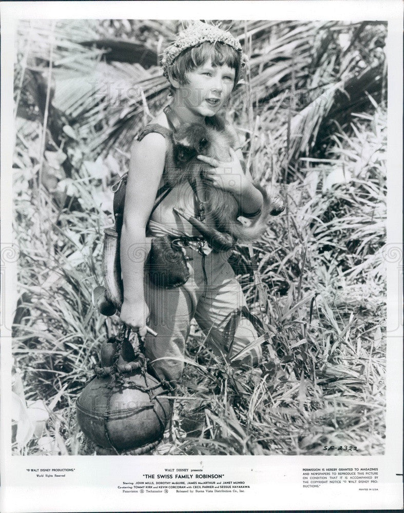 1975 Child Actor Kevin Corcoran in Disney Film Swiss Family Robinson Press Photo - Historic Images