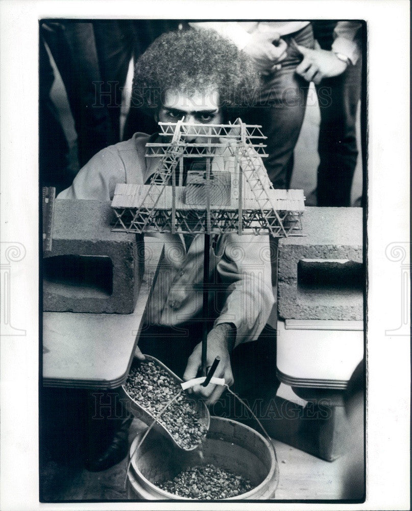 1981 University of Detroit Toothpick Bridge Building Contest Press Photo - Historic Images