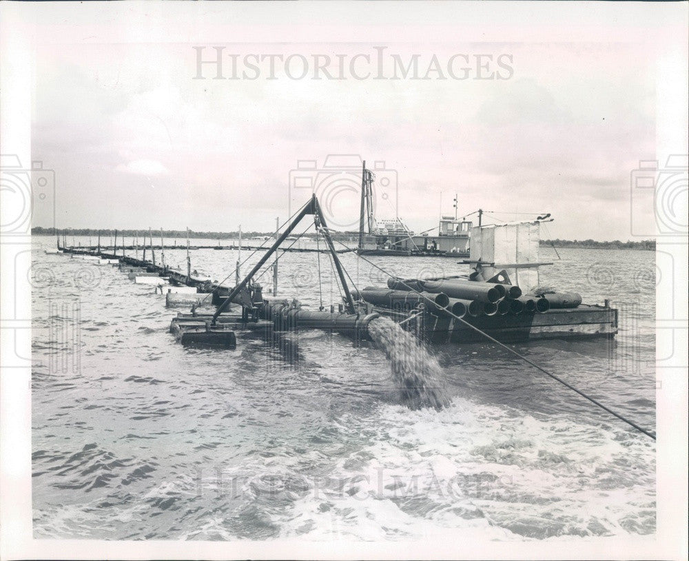 1966 Tarpon Springs, Florida Fred C Howard Park Beach Dredging Press Photo - Historic Images