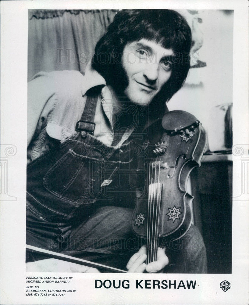 1977 American Fiddle Player Doug Kershaw Press Photo - Historic Images