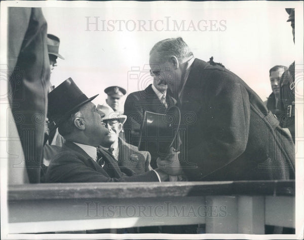 1936 US President FD Roosevelt & French Ambassador Andre Laboulaye Press Photo - Historic Images