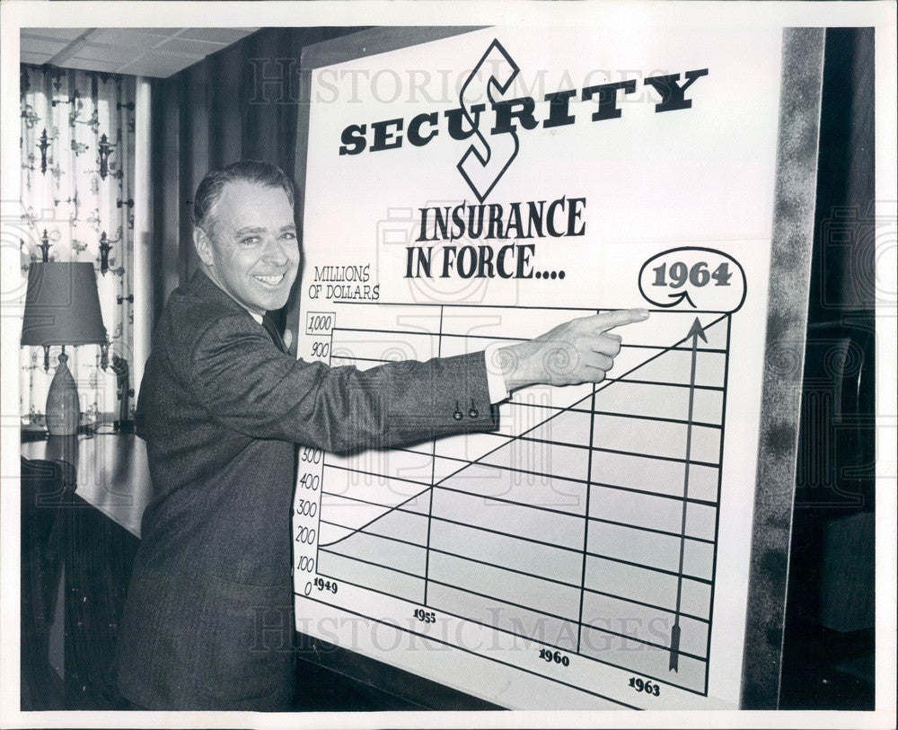1964 Denver, Colorado Security Life Insurance President Burr Betts Press Photo - Historic Images