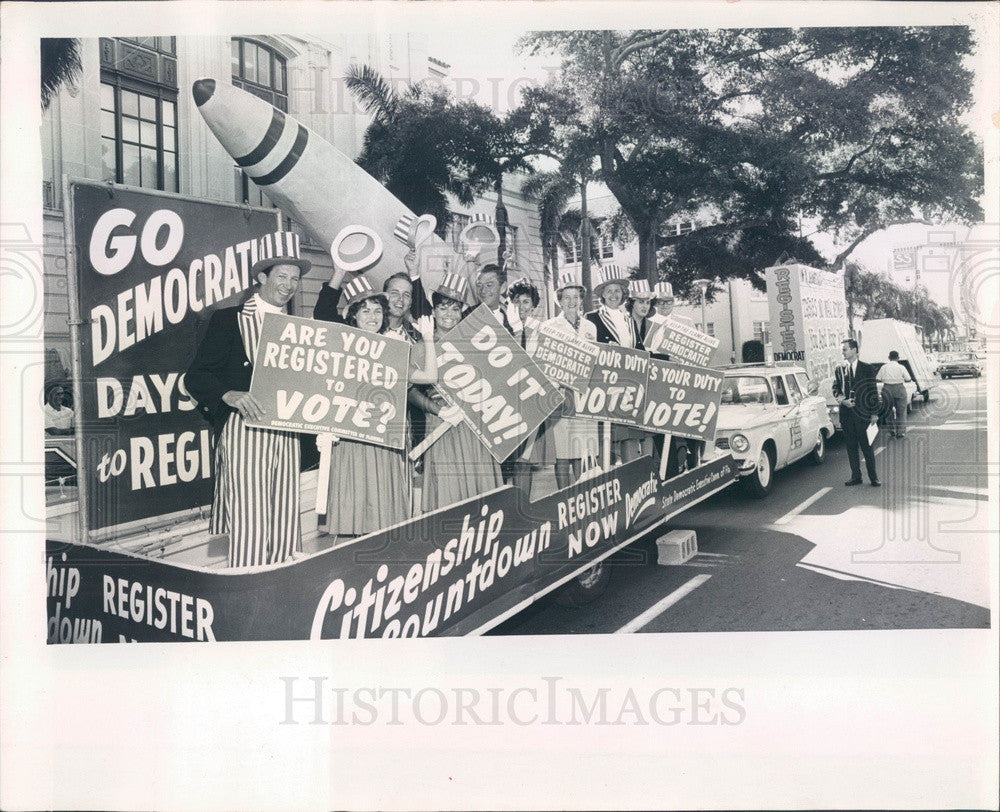 1964 St Petersburg, Florida Voter Registration Caravan Press Photo - Historic Images