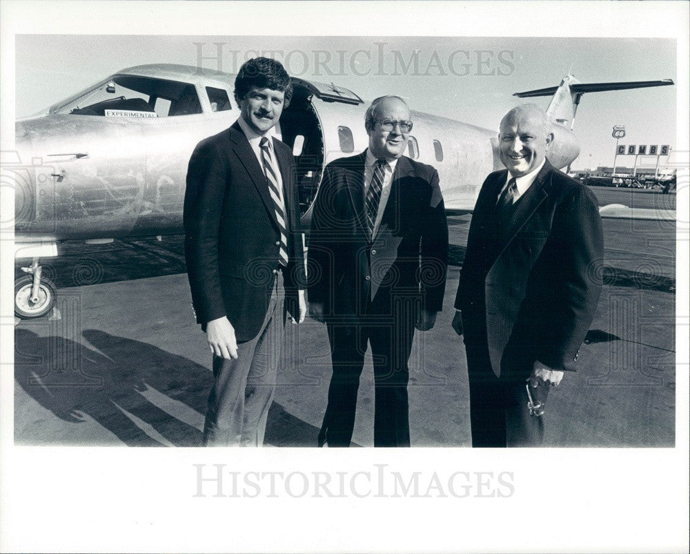 1983 Branson Aircraft Execs Carl Branson, Ron Neal, Roger Kirwan Press Photo - Historic Images