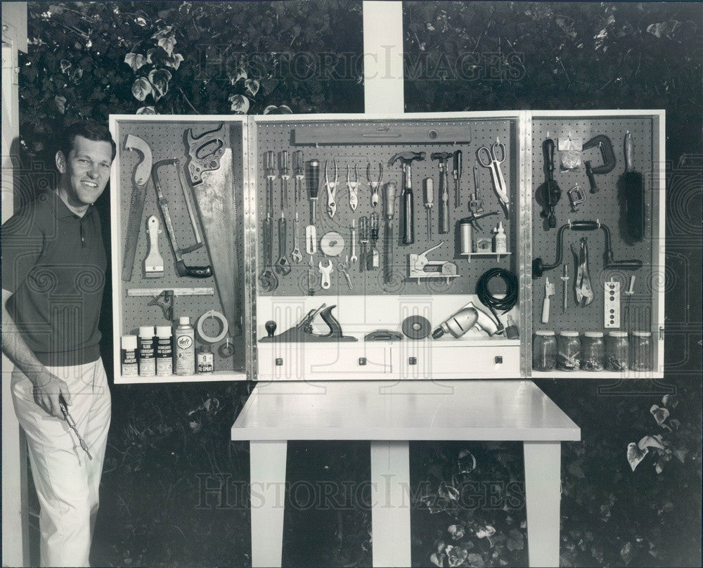 1963 TV Game Show Host Tom Kennedy with Do-It-Yourself Craftsman's Press Photo - Historic Images