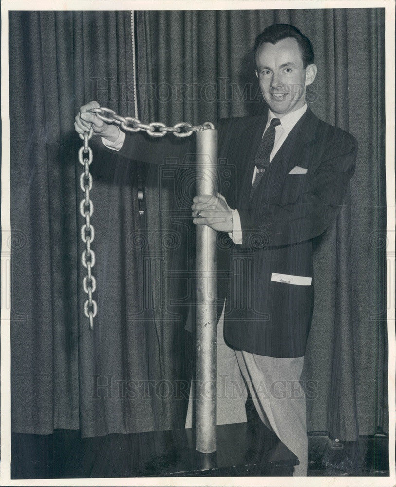 1955 Denver, Colorado KOA Weatherman Ed Bowman & Wyoming Wind Sock Press Photo - Historic Images