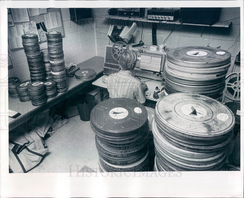 1977 Clearwater, Florida School Administration Building Film Room Press Photo - Historic Images