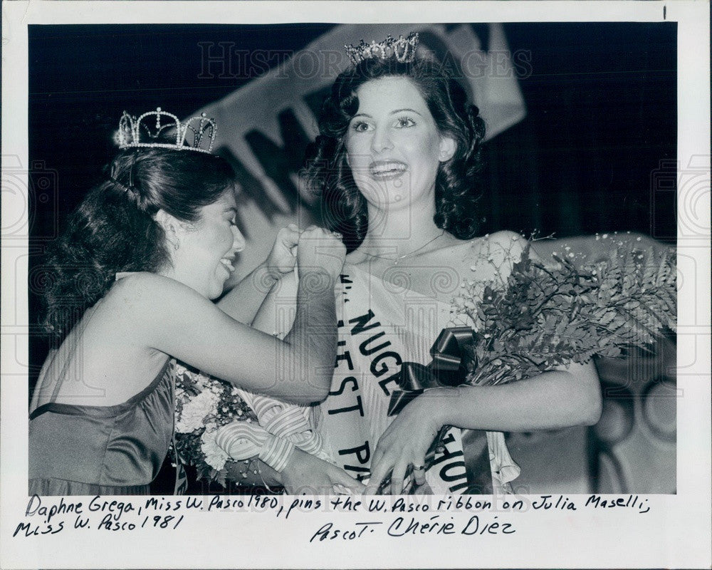 1981 Florida, Miss West Pasco 1981 Julia Maselli & 1980 Daphne Grega Press Photo - Historic Images