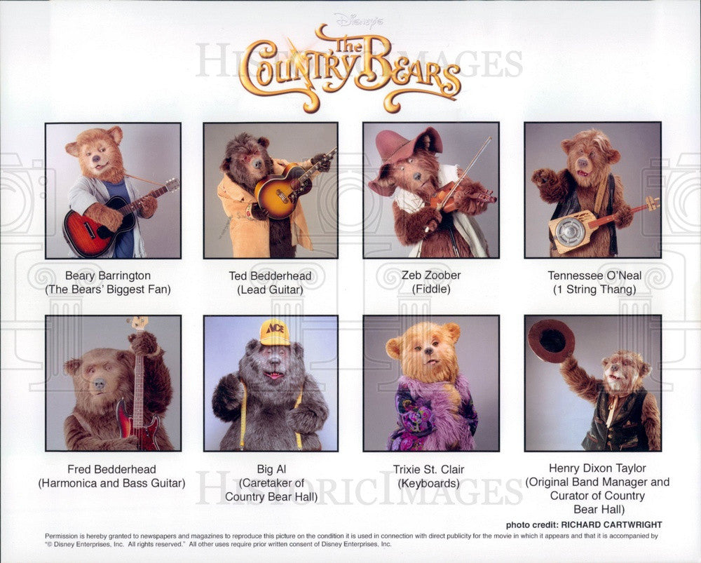 2002 Walt Disney Characters The Country Bears Press Photo - Historic Images