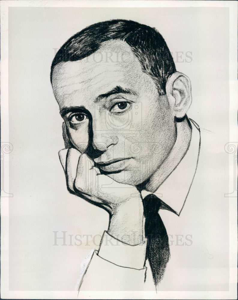 1961 Hollywood Entertainer Joey Bishop Caricature Press Photo - Historic Images