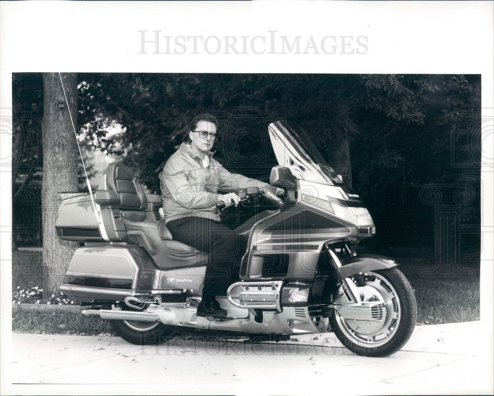 1991 Detroit, Michigan Honda Touring Bike & Dennis Lockheart Press Photo - Historic Images
