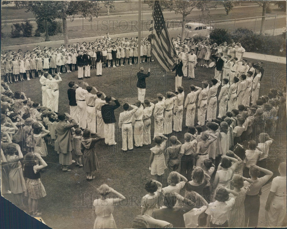 1938 Denver, Colorado Steele School Flag-Raising Ceremony Press Photo - Historic Images
