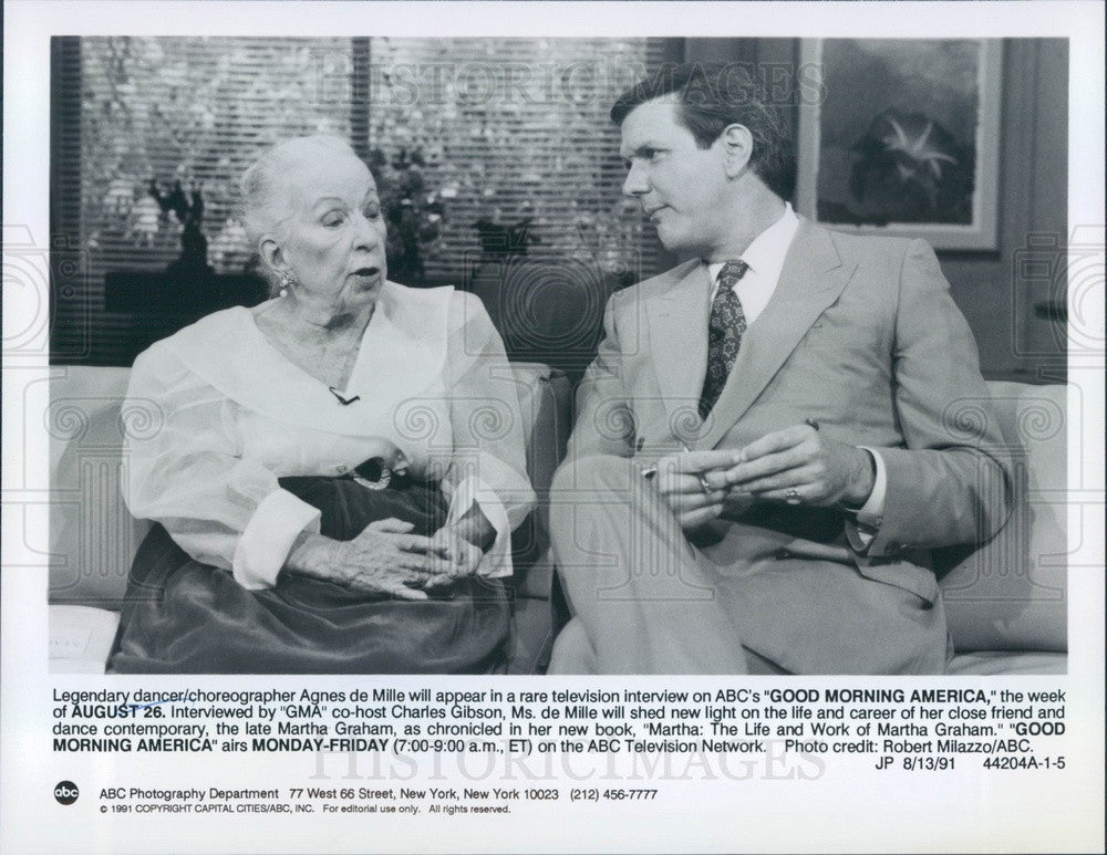 1991 Dancer & Choreographer Agnes de Mille & Charles Gibson Press Photo - Historic Images