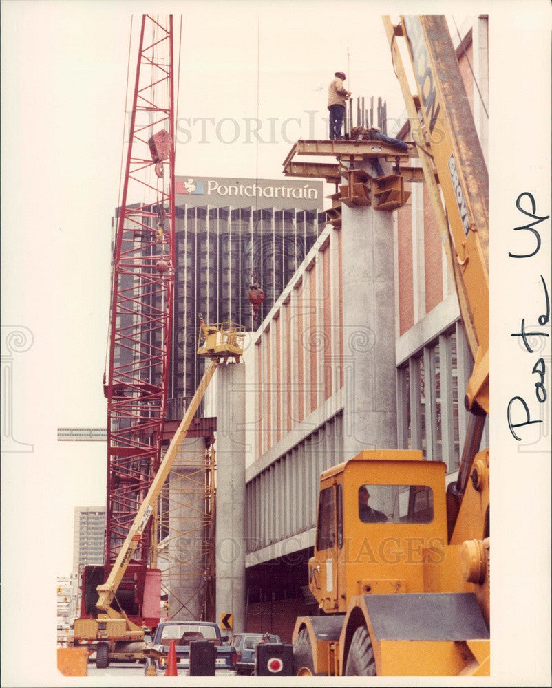1984 Detroit, Michigan Rapid Transit People-Mover Construction Press Photo - Historic Images