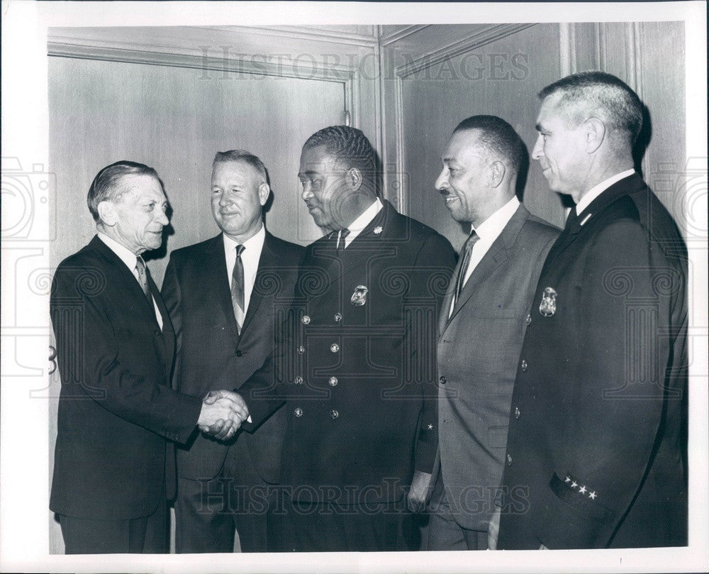 1967 Detroit, Michigan Police Commissioner Girardin, Officers Press Photo - Historic Images
