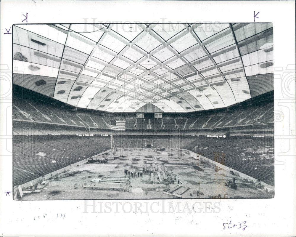 1985 Pontiac, Michigan Silverdome Stadium New Roof Press Photo - Historic Images