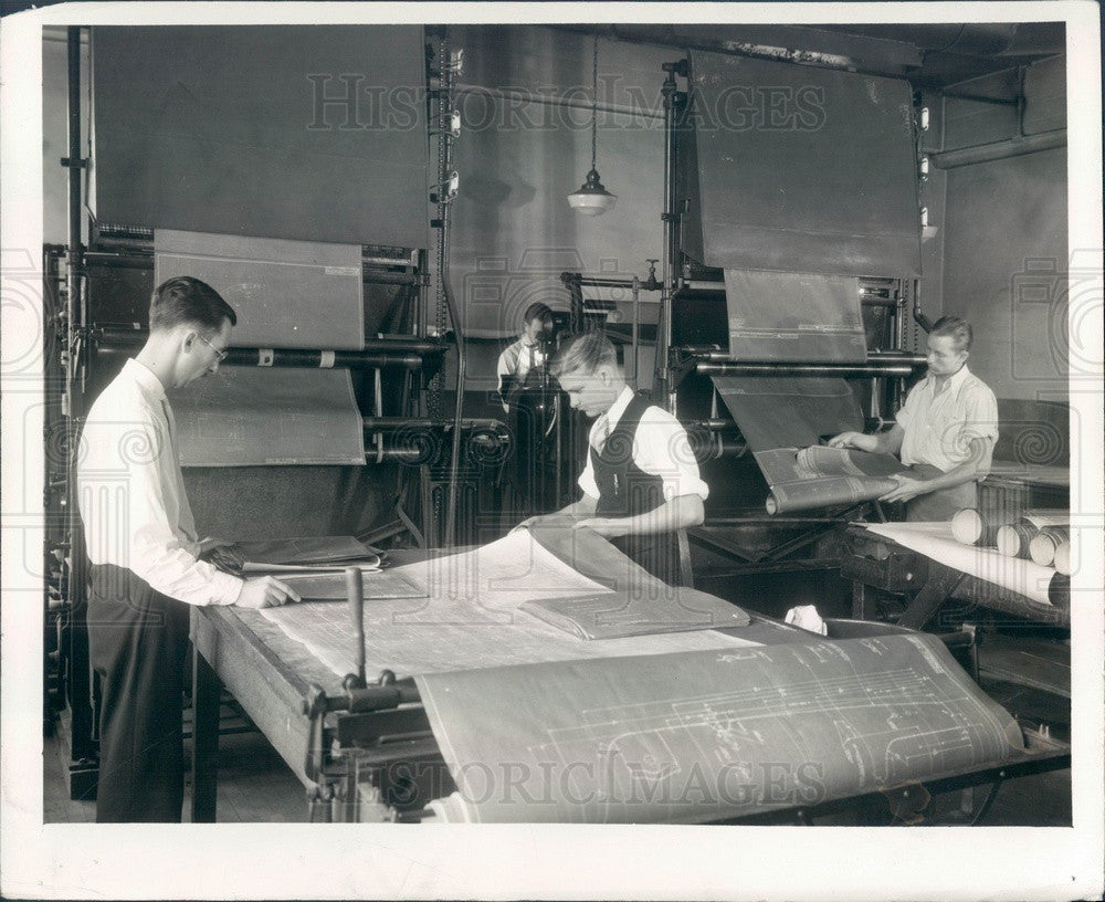 1934 Detroit, Michigan Automotive Blueprints Being Made Press Photo - Historic Images
