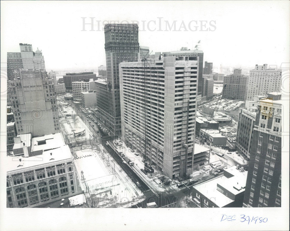 1980 Detroit, Michigan Trolley Plaza Apartments Construction Press Photo - Historic Images