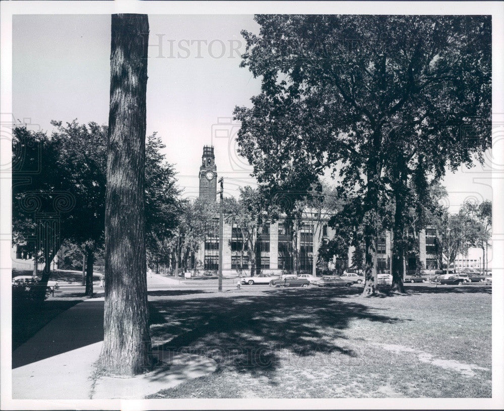 1964 Michigan, University of Detroit Clock Tower, Engineering Bldg Press Photo - Historic Images