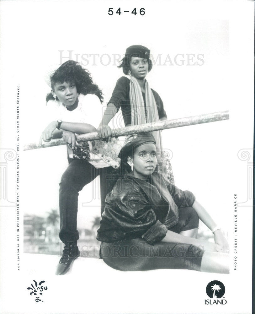 1990 Lithuanian Girl Pop Trio Music Group Mango Press Photo - Historic Images