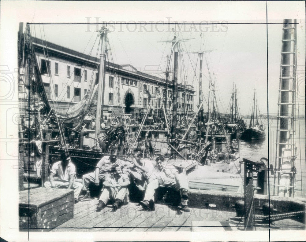 1943 Boston, MA Idle Fishing Fleet During OPA Protest Press Photo - Historic Images