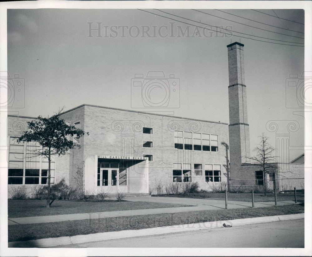 1950 Detroit, Michigan Carleton Elementary School Press Photo - Historic Images