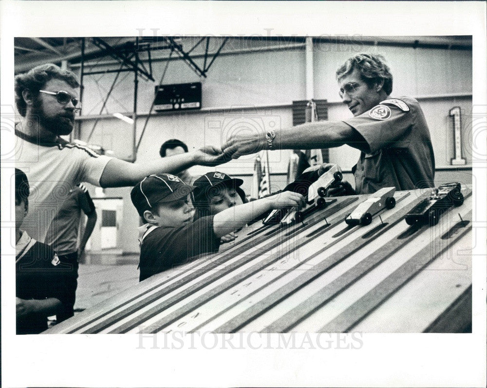 1979 New Port Richey, FL Cub Scout Pinewood Derby, Wooden Race Cars Press Photo - Historic Images