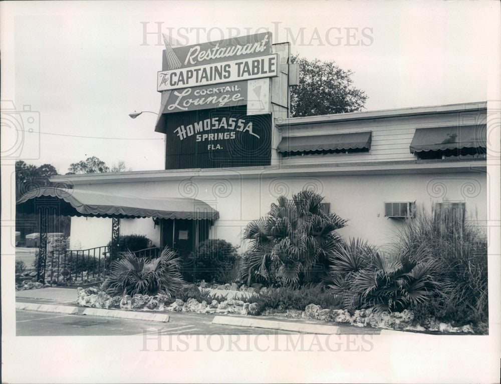 1973 Homosassa Springs, Florida Captains Table Restaurant Press Photo - Historic Images