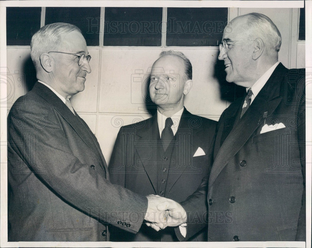 1947 President Truman, Baptist World Alliance Pres Oscar Johnson Press Photo - Historic Images
