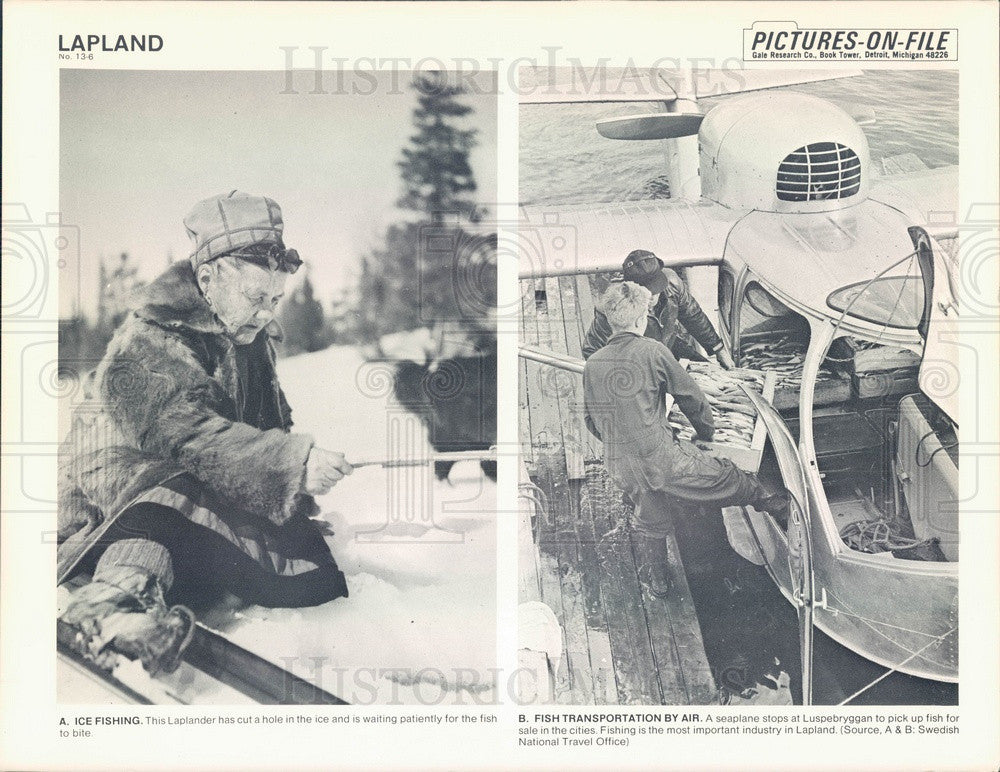 1967 Lapland, Ice Fishing, Seaplane Picking Up Fish at Luspebryggan Press Photo - Historic Images