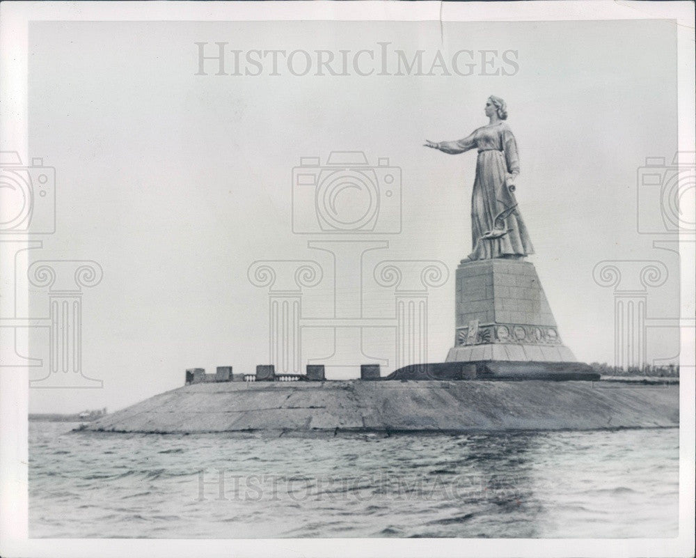 1953 Russia, Lady of the Volga Sculpture on Bank of Rybinsk Press Photo - Historic Images