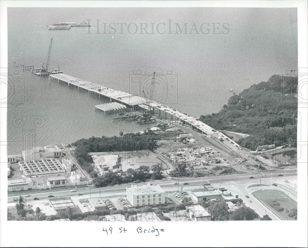 1991 Pinellas County, FL 49th St Bridge Construction Aerial View Press Photo - Historic Images