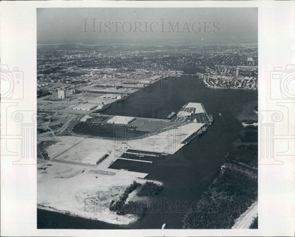 1969 Port Everglades, Florida Aerial View Press Photo - Historic Images