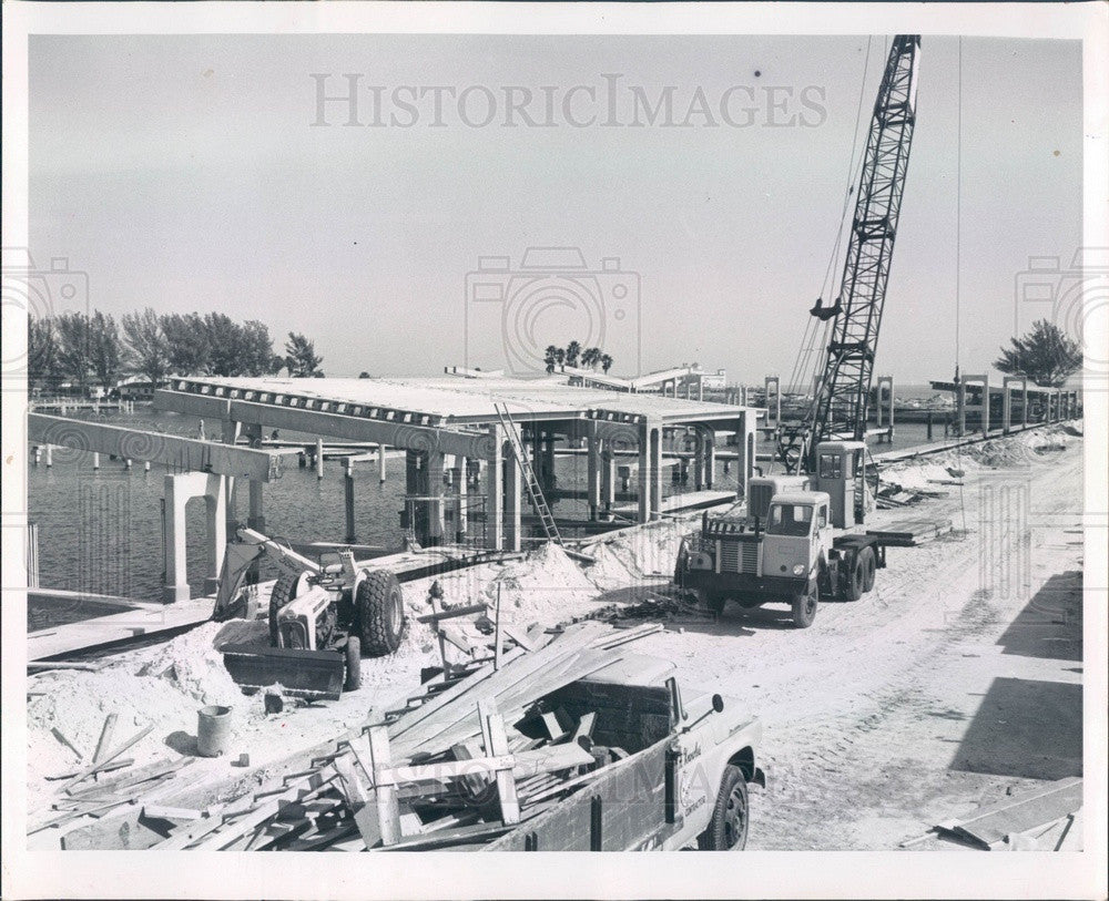 1963 St. Petersburg Florida Central Yacht Basin Marina Construction Press Photo - Historic Images