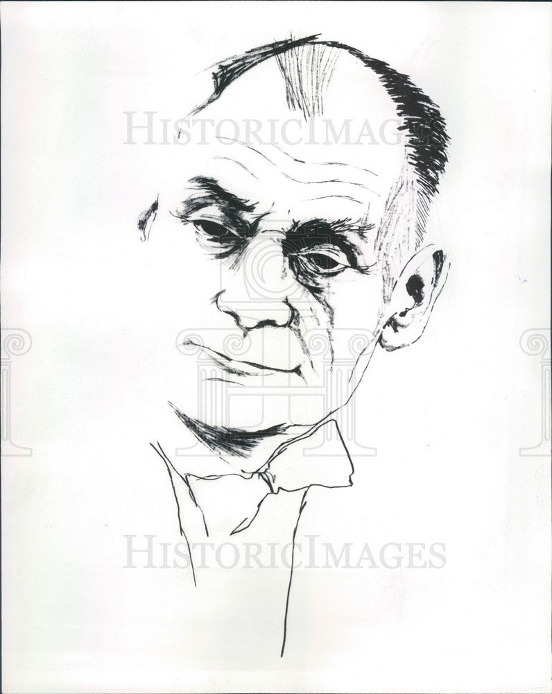 1963 Nobel Prize Winner Dr. John F Enders Caricature, Measles Virus Press Photo - Historic Images
