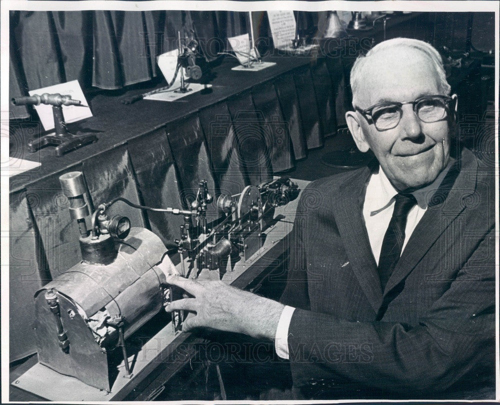 1964 Denver, CO Engineer John Metz & Model of Early Electric Plant Press Photo - Historic Images