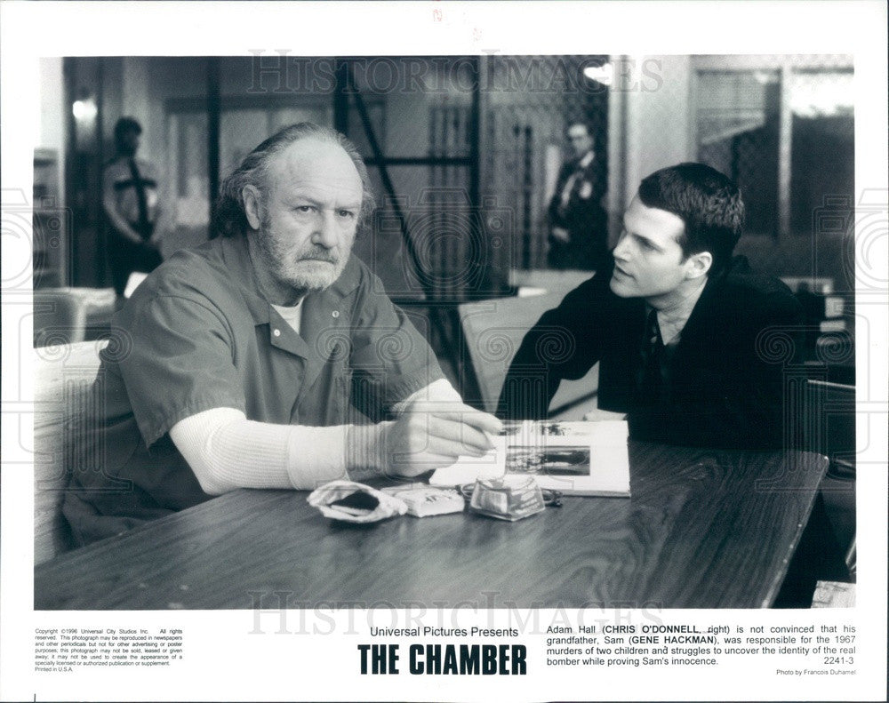 1996 Hollywood Actors Chris O'Donnell & Gene Hackman in The Chamber Press Photo - Historic Images