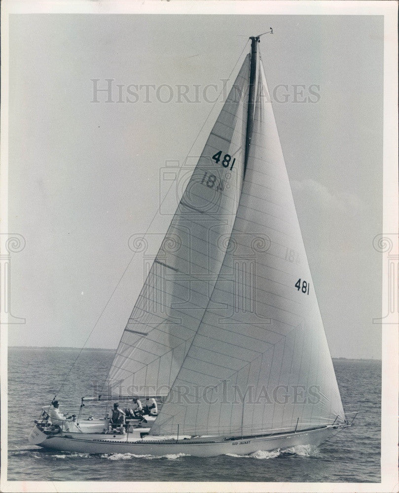 1968 St Petersburg, FL Boat Red Jacket, Southern Ocean Racing Conf Press Photo - Historic Images