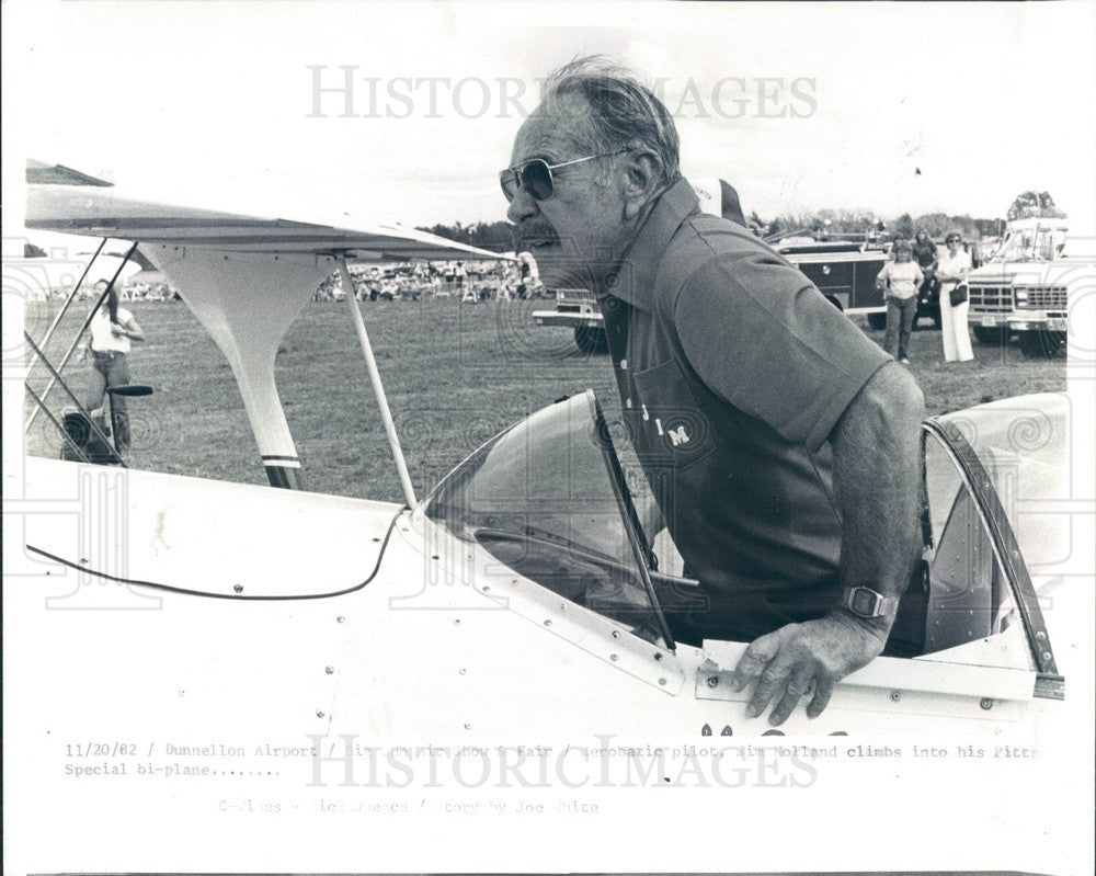 1982 Dunnellon FL Aerobatic Pilot Jim Holland, Pitts Special Biplane Press Photo - Historic Images