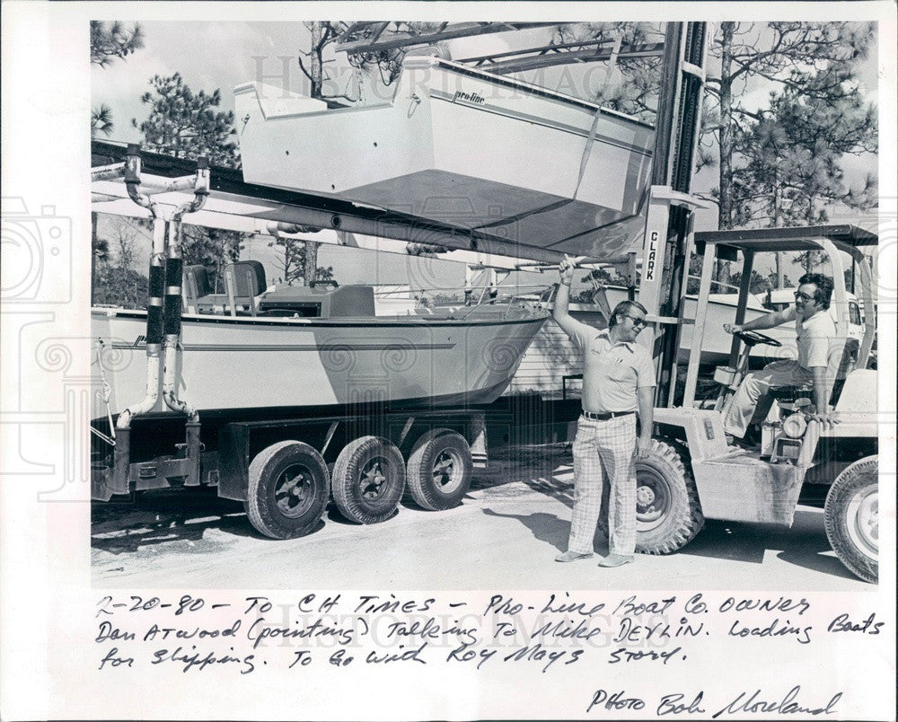 1980 Homosassa Springs, FL Pro-Line Boat Works, Owner Dan Atwood Press Photo - Historic Images