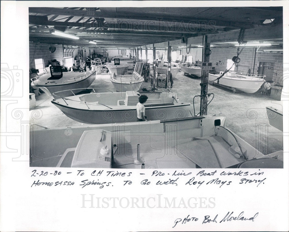 1980 Homosassa Springs, Florida Pro-Line Boat Works Press Photo - Historic Images