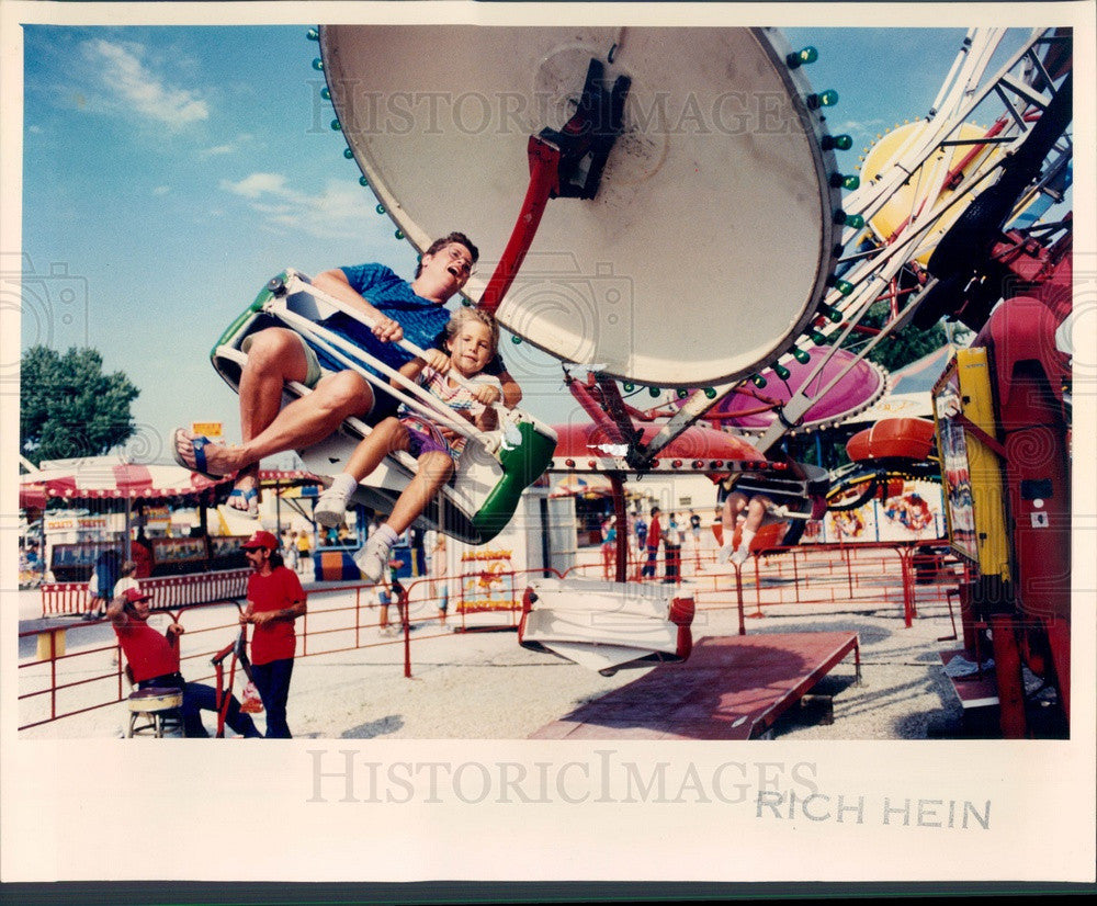 1991 Kane County, Illinois Fair Paratrooper Ride Press Photo - Historic Images