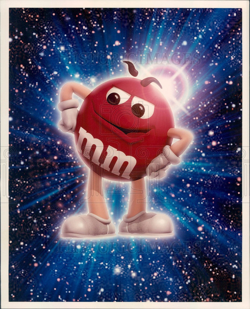 Undated Red M & M Candy Cartoon Character Press Photo - Historic Images