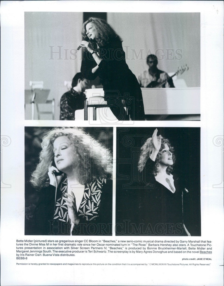 Undated American Singer/Actress/Comedian Bette Midler in Beaches Press Photo - Historic Images