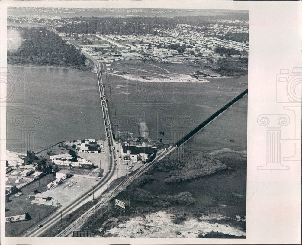 1965 St Petersburg, FL Old Seminole Bridge Aerial, Boca Ciega Bay Press Photo - Historic Images